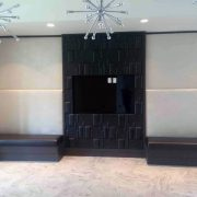 Upholstered wall and banquettes